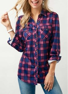 Button Up Plaid Print Turndown Collar Shirt on sale only US$31.58 now, buy cheap Button Up Plaid Print Turndown Collar Shirt at liligal.com