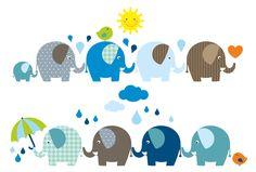 Wandtattoos - Wandtattoo Elefanten - ein Designerstück von n-art bei DaWanda