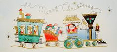 Christmas Train. Vintage Christmas Card. Retro Christmas