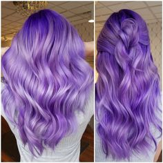Makeover: basic blonde to purple/lilac melt - hair color - modern salon purple Hair Color Purple, Hair Dye Colors, Cool Hair Color, Purple Lilac, Bright Purple Hair, Blonde Color, Dyed Hair Purple, Blonde Hair With Purple Tips, Long Purple Hair