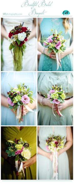 DIY wildflower bouquets for the bride and bridesmaids for a rustic Ojai California wedding