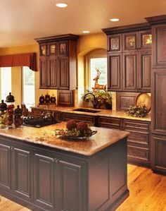 Log Home Interior Design Ideas, Pictures, Remodel, and Decor - page 42 (glass in cabs)