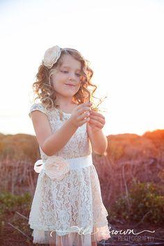 lace flower girl dress rustic flower girl dress lace by ElluraSage