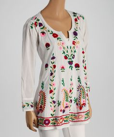 Take a look at the White & Red Floral Embroidered Notch Neck Tunic on #zulily today!