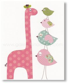 Giraffe nursery - Animal girl bedroom - baby nursery decor - Pink blue children print -  Birds art - Taller Than You