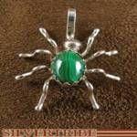Navajo Indian Malachite Silver Spider Pendant