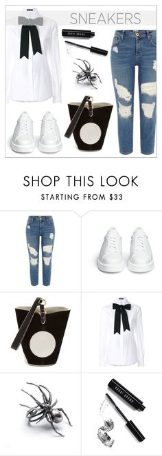 """White Sneakers"" by elli-argyropoulou ❤ liked on Polyvore featuring River Island, Robert Clergerie, Diane Von Furstenberg, Dolce&Gabbana, Bobbi Brown Cosmetics, bows, blackandwhite, boyfriendjeans, MiniBag and whitesneakers"