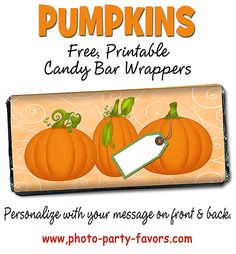Free, Printable Pumpkin Candy Bars Wrappers with EASY instructions for a standard 1.5 oz chocolate bar. Great for a fall party or a Halloween treat! Free DIY craft. More printables and other party stuff at http://www.photo-party-favors.com/