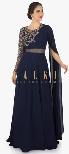 Navy blue dress featuring in georgette. Enhanced in sheer waist line with fancy long sleeve along with bodice embellished in zardosi embroidery. Indian Gowns Dresses, Indian Fashion Dresses, Indian Designer Outfits, Indian Outfits, Prom Dresses, Long Gown Dress, Saree Dress, Navy Blue Gown, Navy Blue Lehenga
