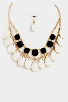 Teardrop and Stone Statement Necklace Set -- $19.20 -- ShoptheCovetedCloset.com