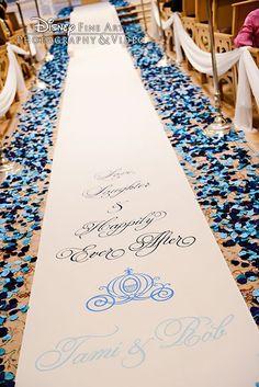Dark blue and light blue petals line the aisle at Disney's Wedding Pavilion