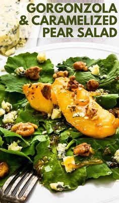 Pear Gorgonzola Salad, Gorgonzola Cheese, Pear Salad, Kale Salad, Soup And Salad, Glazed Walnuts, Candied Walnuts, Kale Recipes, Healthy Dinner Recipes