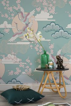 Green and gold accents work a dream with this oriental wallpaper design. Featuring an assortment of patterns and illustrations, this wallpaper mural is completely unique.