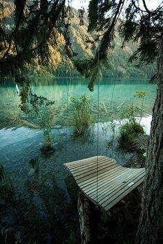 A swing at Weissensee, Carinthia / Austria (by Adam Raczynski).