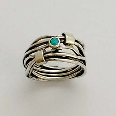 Image result for silver ring multiple bands with light blue stones