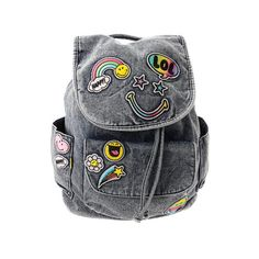 Smiley Denim Emoji Patch Backpack ($19) ❤ liked on Polyvore featuring bags, backpacks, denim bag, patch handle bags, knapsack bag, backpack bags and denim rucksack