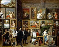 David Teniers II (Amberes, c. 1610 - Bruselas, 1690) El archiduque Leopodo Guillermo y el artista en la galería de pintura archiducal en Bruselas (1653)