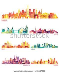 Skyline detailed silhouette set (Paris, London, Rome, Milan, Lisbon, Barcelona, Madrid ). Vector illustration