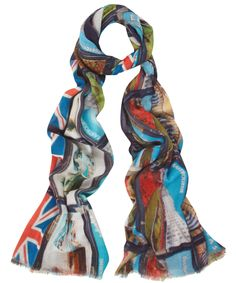 Eastbourne Postcards Bamboo Mix Scarf, Lily and Lionel bright and punchy without being glary. very london souvenir and yet still stylish. exclusive to liberty london London Souvenirs, Punch And Judy, Best Of British, Union Jack, Seaside, Blue Jeans, Postcards, Liberty, Bamboo