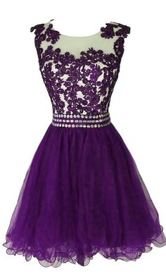 Purple Cute Beaded Applique Tulle Knee Length Prom Dresses, Homecoming Dresses, Purple Party Dresses
