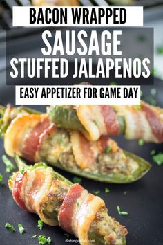 Bacon Wrapped Sausage Stuffed Jalapenos  are a savory and easy appetizer or finger food for game day snacking. A jalapeno stuffed with sausage and wrapped in bacon and cooked to perfection. #appetizer #sausage #Jalapeno #bacon #stuffed #fingerfood #gameday #partyfood