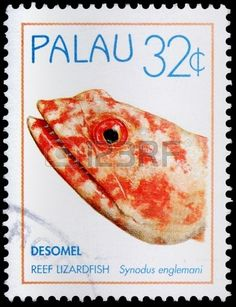 The reef lizardfish, Synodus englemani, from Desomel Island, 32-cent stamp…