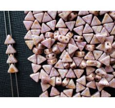 50pcs Khéops® par Puca® 6mm 2-hole Czech Glass Pressed Beads Opaque Mix Rose Gold Ceramic Look
