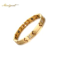Meaeguet Womens Health Hematite Bracelets Stainless steel Cubic Zirconia Bracelet for Women Gold-Color Chain Bangles Jewelry