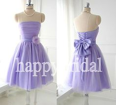 Short Lavender Bridesmaid Dresses Beautiful Bow by Happybridal, $72.00