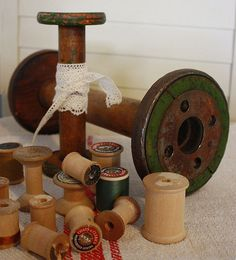 vintage spools.....I love using the large spools as hat stands....
