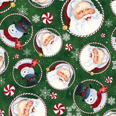 Christmas Fabric, Retro Santa Forest Tossed Santas and Snowmen Cotton  by Clothworks by TheQuiltedNursery on Etsy