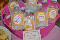 Princess Water Bottle Labels - Birthday Party Drink Labels Water Resistant - Princess Crown Party Decorations - Set of 10 Birthday Party Drinks, Pink And Gold Birthday Party, Gold Party, 2nd Birthday Parties, Princess Theme Birthday, 1st Birthday Girls, Diy Birthday, Drink Labels, Bottle Labels