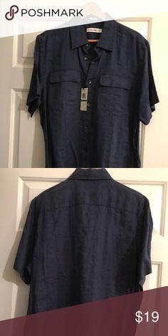 🚀 Calvin Klein Men's shirt 🚀 Calvin Klein Men's shirt sleeve shirt. 2 pockets on the front. 100% Linen. Navy blue. Brand new! Calvin Klein Shirts Casual Button Down Shirts