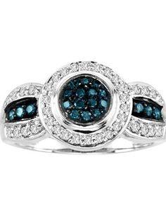 Blue Diamond Bridal Ring