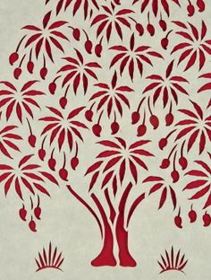 The Red Tree Sanjhi Art Frame Stencil Patterns, Stencil Designs, Mughal Paintings, Paper Cut Design, Madhubani Art, Knife Art, Red Tree, Mural Wall Art, Pattern Drawing
