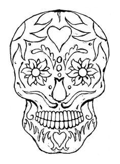 Day of the Dead dia de los muertos Sugar Skull Coloring pages colouring adult detailed advanced printable Kleuren voor volwassenen coloriage pour adulte anti-stress kleurplaat voor volwassenen Line Art Black and White