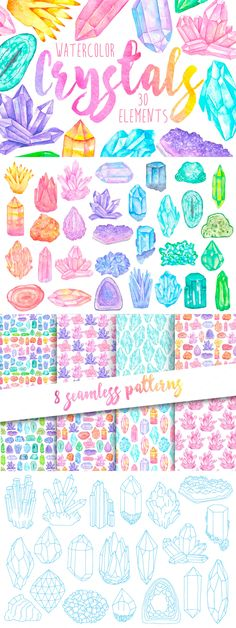 cute clip art feminine graphics for wedding invitation invites, girly, colorful, watercolor crystals, minerals, gems crystals,gems, gemstones, watercolour, vintage, hipster, clip art, boho, bohemian, wedding, hand drawn, aztec, tribal, dimond, png, seamless, pattern, background