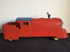 "Antique Vintage Marx Pressed Steel Toy Ride On Train Locomotive ""3000"" 