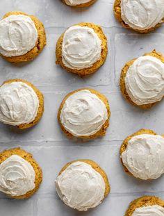 Iced Pumpkin Cookies, Pumpkin Cookie Recipe, Cookie Recipes, Healthy Dessert Recipes, Easy Desserts, Delicious Desserts, Apple Recipes, Pumpkin Recipes, Brown Butter Frosting