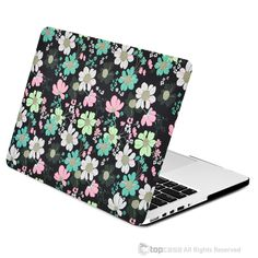 "Black Floral Pattern Rubberized Hard Case for MacBook Pro 13"" with Retina Display Model A1425 / A1502"