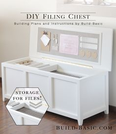 Get organized with this easy DIY Filing Chest! Full building plans include almost 4 feet of hanging file storage, a sliding tray for supplies, and a fabric bulletin board for reminders. Free plans include photos and cut list. #Woodworking #DIY #Office #FilingChest #Organization #OfficeStorage #FilingCabinet #FreePlans #HowTo