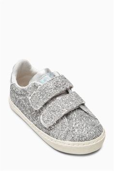 Silver Glitter Trainers (Younger Girls)