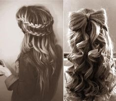 (braided hair,french braids,curly hair,long hair,hair bow,pretty hair styles)
