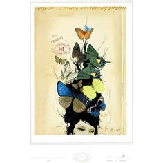 Archival-quality giclee print with the date and artist�s signature. Features academic print-inspired butterflies.    Product: Wall art...