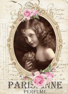 Vintage girl Digital collage Free for personal use Vintage Labels, Vintage Ephemera, Vintage Cards, Vintage Paper, Vintage Postcards, Decoupage Vintage, Shabby Vintage, Vintage Flowers, Shabby Chic
