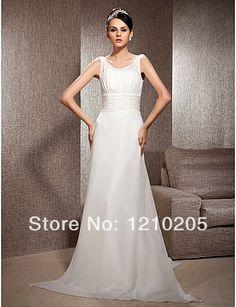 Free Shipping Sheath/Column Scoop Court Train Chiffon Wedding Dress 1441252 $269.89