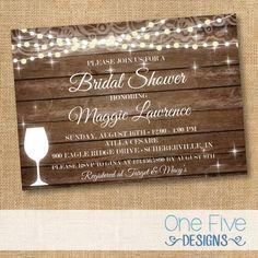 Rustikale Bridal Shower Einladung Lichterketten auf Holz