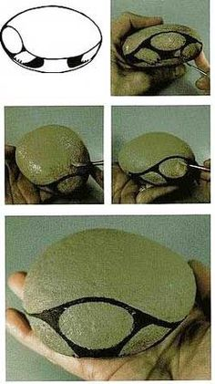 pintado de piedras diseños...how to block in the basic shapes of a turtle....The…