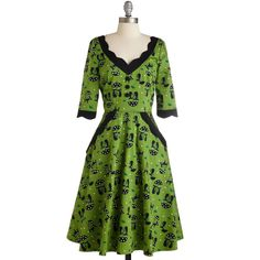 Pinup Long 3 Fit & Flare Weekend Fore-cats Dress ($100) ❤ liked on Polyvore featuring dresses, apparel, fashion dress, green, daisy-print dress, cat dress, fit and flare dress, pin up dresses and green midi dress