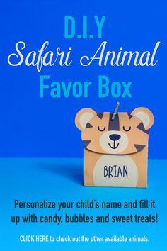 Lolly Bags, Goodie Bags, Favor Bags, Gift Bags, Safari Theme Birthday, Safari Party, Safari Animals, Kid Names, Party Printables